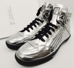 Versace Collection Medusa silver Leather Trainers Sneakers Boots UK11 45 US12