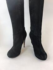 TopShop Size UK7 Black Nubuck Leather Over The Knee Pull Zip High Heels Boots