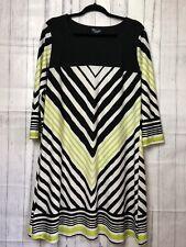 Threadz Australia Womens Tunic Dress Shift Stretch Loose Black White Stripe Sz L