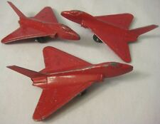 Lot of 3 Identical Old Metal Tootsie Toy Delta Wing F-102 Navy Jets 1950s