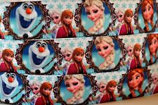 "Grosgrain Ribbon 7/8"" PRINCESS ANNA ELSA OLAF FROZEN Printed."