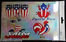 Puerto Rico Laser Car Window Stickers Sheet of 4 Different Stickers!