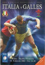 ITALIA / Galles Rugby 2005 programma 12 febbraio GRAND SLAM stagione per il Galles