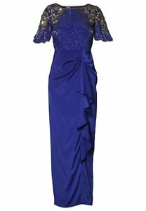 Virgos Lounge Blue Wrap Party Cocktail Maxi Wedding Bridesmaid Dress UK 10 38