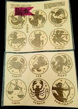Vintage MEYERCORD ZODIAC DECALS GOLD 12 Total Decals in Package X 556 B