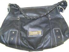 XOXO Black Faux Leather PVC Braided Strap Shoulder Bag Purse