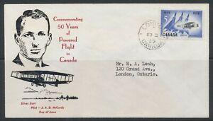 1959 Canada #383 FDC 50 Yrs Powered Flight 1909-1959 ~ Silver Dart & Avro Arrow