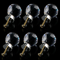 6 x Crystal Glass Clear Door Handles 30mm Drawer Kitchen Silver SH