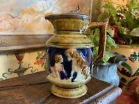 Wonderful Antique English Majolica Lidded Jug Pitcher Child & Dog