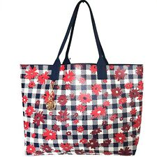 NEW TOMMY HILFIGER Talia Tote Bag Daisy A43870 Reversible Navy/Red/White Tags
