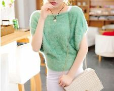 Caldo morbido maglione maglia bolero donna verde girocollo misto lana 4249