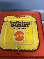 Vintage 1971 Mattel Talking Clown In-The-Box Tin Pull Cord Push  Pops up Works