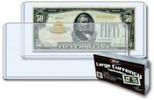 25 Rigid Banknotes Sleeves For Large Size Us Currency Notes Bcw Topload Holders