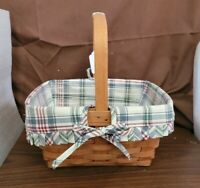 Longaberger 1989 SMALL MARKET BASKET Market Day Plaid Fabric Liner & Protector