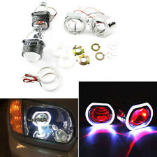 2 x 2.5 inch Square Bi-xenon Projector Lens +2 x Shrouds+2 x Red LED Devil Eyes