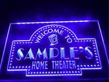 Personalized HOME THEATER Custom LED Indoor Light Sign Decor Cafe Bar Beer Movie