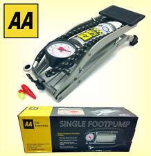 AA Single Barrel Cylinder Foot Pump Air Inflator w/ Gauge For Van Tyre Car Bike