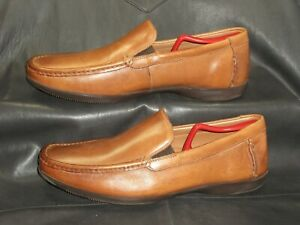 Clarks 1825 men's tan smooth leather slip on moc toe loafer shoes size US 11M