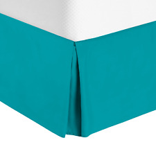 Premium Luxury Pleated Tailored Bed Skirt - 14� Drop Dust Ruffle, Cal King -Teal