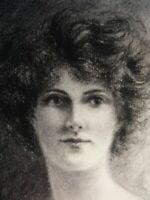 Vintage 1949 Pencil Drawing Portrait  of a Lady, Woman,monogrammed E.M.B