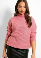 Womes Ladies Pink High Turtle Neck Soft Knit Jumper Loose Fit 8 10 12 14 Sweater