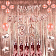 Rose Gold Series Latex Number Happy Birthday Balloons Party Curtain