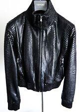$10300 FREDO FERRUCCI Women's Python Snakeskin Leather Black Jacket Size Small