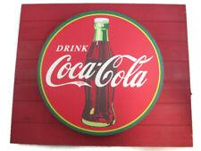 Coca-Cola Red Disc Backlit Sign Screenprint Metal on Wood Background LED