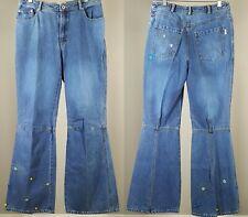 Boho Bell Bottom Jeans Embellished Hippie FLOWER CHILD Princess OLILY 28 X 29
