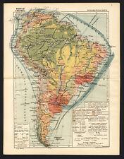 1936 MAP of South America Brazil Argentina Bolivia Geokartprom USSR Soviet Rare
