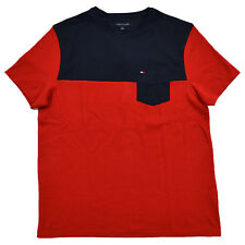 Tommy Hilfiger T-shirt Mens Crew Neck Color Block Pocket Tee Short Sleeve New