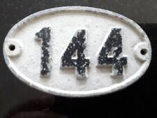 Original Reclaimed Cast Metal Alloy Oval Number, House, Gate, Workshop 144