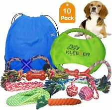 KLEEGER Dog Toy Set: Durable 10-Pack Puppy Toy Package With Storage Bag, Top ...