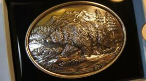 Nocona OVAL ANTIQUE  SCROLL Grizzly Bear BUCKLE Belt Buckle 37045