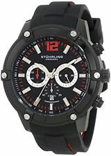 NEW Stuhrling 268.33561 Mens Champion Victory Chrono Red Accent Black Band Watch