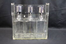 "Vintage Countertop Plexiglass Syrup Rack with 3 Square 8"" Glass Pump Bottles"