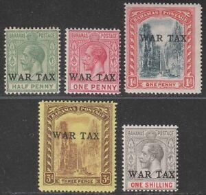 Bahamas 1918 KGV War Tax Overprint Set Mint SG91-95 cat £120
