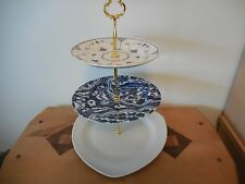 SERVING DISH THREE TIERED SERVING PLATES IN  DARK BLUES & WHITES W/GOLD HARDWARE