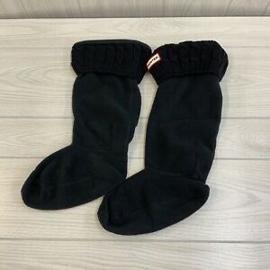 Hunter UAS3036AAB Cable Knit Top Boot sock Women's Size Large Black