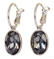 Swarovski Elements Crystal Black Diamond Puzzle Pierced Earrings Rhodium 7177x