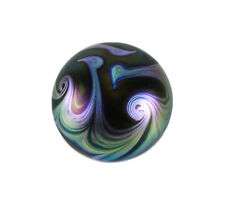 "c 1970 Kent Fiske Art Glass 3"" Paperweight iridescent and metallic swirls"
