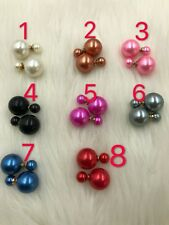 Women girl Double Sided Pearl Earrings Two Side Pearl Studs Crystal fashion jewe