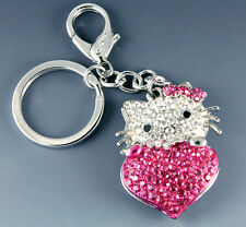 NEW FUCHSIA KITTY CAT HEART GENUINE CRYSTALS KEY CHAIN BAG CHARM CHROME FINISH