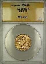 1958 Great Britain Sovereign Gold Coin ANACS MS-66 Gem BU (C)