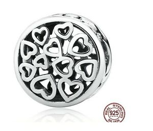 Loving Sentiments Heart 925 Sterling Silver Bead Charm Fits Bracelet Bangle