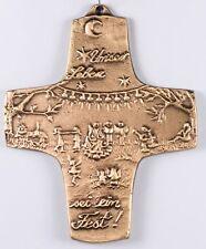 Kreuz Kommunion POHLENZ Leben sei ein Fest Baum Figuren Tanzen Bronze Wand 9x8cm