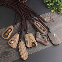 Vintage Ethnic Style Necklace Natural Stone Sandalwood Pendant Handmade Wooden