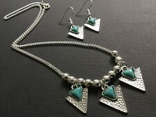 Hammered SILVER And TURQUOISE Triangle Pendant Chain Necklace And Earrings Boho