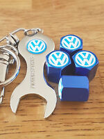 VW VOLKSWAGEN BLUE DUST VALVE CAPS SPANNER LIMITED ALL MODELS RETAIL PACKED BLU