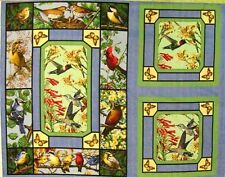 Hummingbirds and Songbirds Large Quilt Fabric Panel